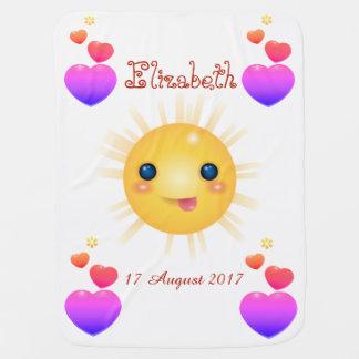 Cobertor De Bebe Sun feliz amarelo brilhante e lareiras cor-de-rosa