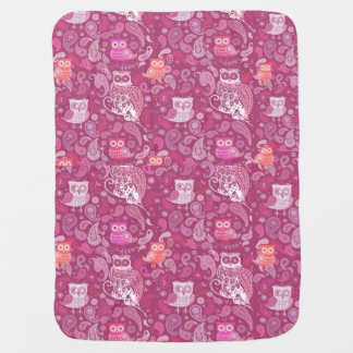 Cobertor De Bebe Teste padrão bonito das corujas cor-de-rosa de