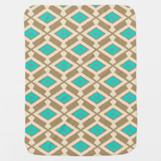 Cobertor De Bebe Teste padrão de Ikat do Navajo - turquesa, Taupe e