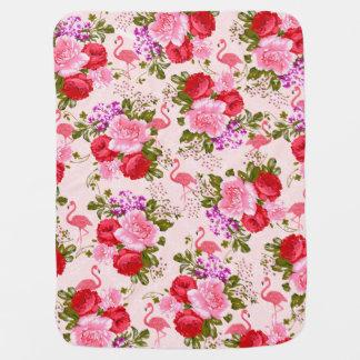 Cobertor De Bebe Vintage elegante do flamingo da aguarela