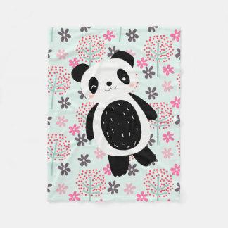 Cobertor De Velo Árvores, flores, e ursos de panda