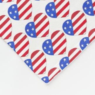 Cobertor De Velo Bandeira americana do coração patriótico das