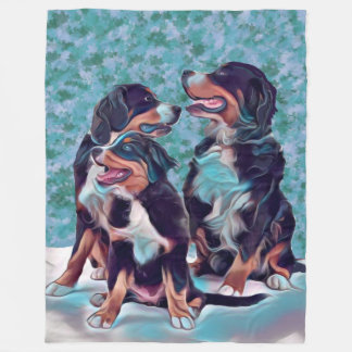 Cobertor De Velo Cães de montanha de Bernese felizes