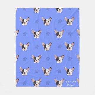 Cobertor De Velo Cobertura azul do velo do buldogue francês da pata
