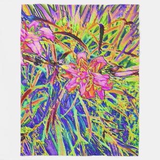 Cobertor De Velo Cobertura floral colorida do velo do cromo
