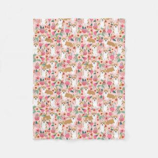 Cobertor De Velo Cobertura floral do Corgi - rosa