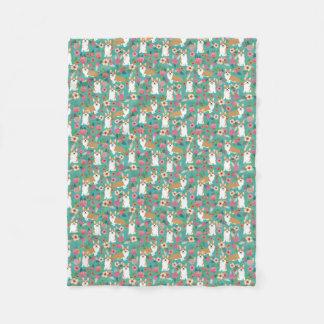 Cobertor De Velo Cobertura floral do Corgi - turquesa