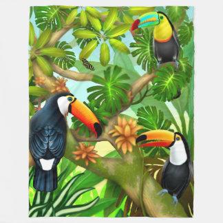 Cobertor De Velo Cobertura tropical do velo dos pássaros de Toucan