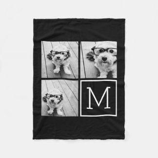 Cobertor De Velo Colagem na moda preto e branco da foto com