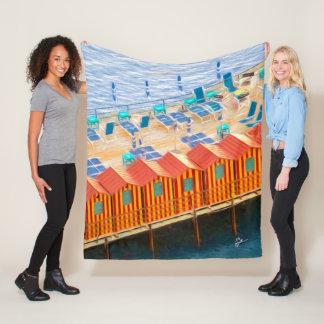 Cobertor De Velo Estilo alaranjado e azul chique da praia das