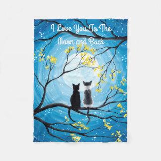 Cobertor De Velo Eu te amo à lua e ao gato traseiro