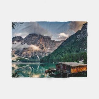Cobertor De Velo Foto italiana da paisagem do lago mountains
