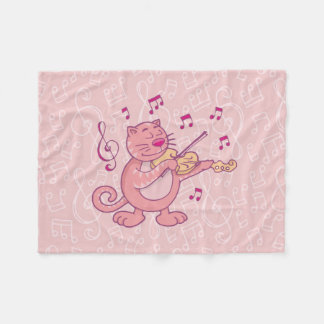 Cobertor De Velo Gato cor-de-rosa com violino