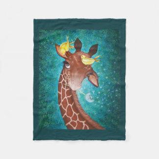 Cobertor De Velo Girafa bonito com pássaros