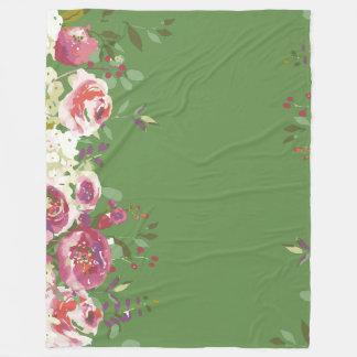 Cobertor De Velo Jardim fresco dos rosas pintados mão da aguarela