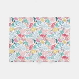 Cobertor De Velo Lance branco do velo da colagem tropical colorida