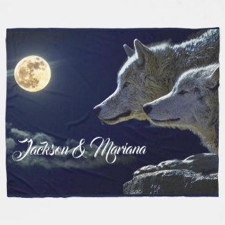 Cobertor De Velo Lobos cinzentos sob uma Lua cheia