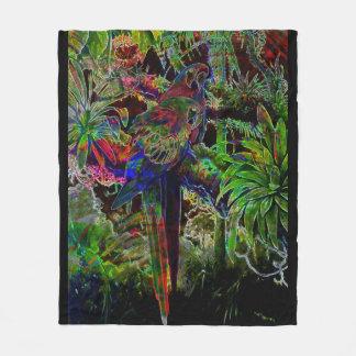 Cobertor De Velo Macaws no paraíso tropical na noite