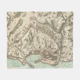 Cobertor De Velo Mapa do vintage de Genoa Italia (1800)