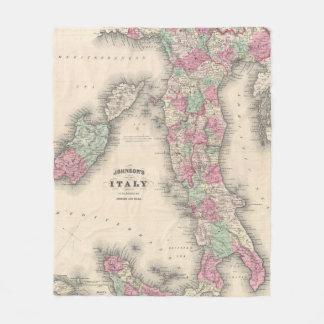 Cobertor De Velo Mapa do vintage de Italia (1864)