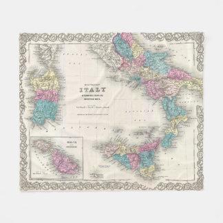Cobertor De Velo Mapa do vintage de Italia do sul (1855)