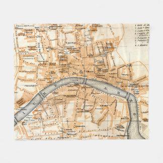 Cobertor De Velo Mapa do vintage de Pisa Italia (1913)