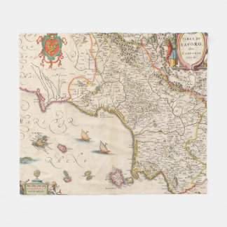 Cobertor De Velo Mapa do vintage do Campania Italia (1662)