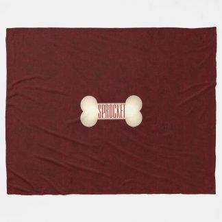 Cobertor De Velo Osso de cão com nome marrom do vermelho e do cão
