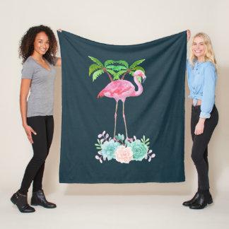 Cobertor De Velo Palmeiras cor-de-rosa do flamingo e Succulents