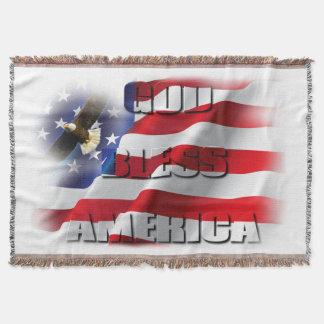 Cobertor Deus abençoe América Eagle subindo patriótico