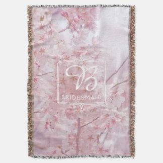 Cobertor Flores de cerejeira rosas pálido da dama de honra