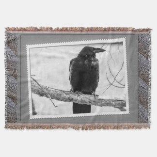 Cobertor Impressão preto da fotografia do corvo do vintage