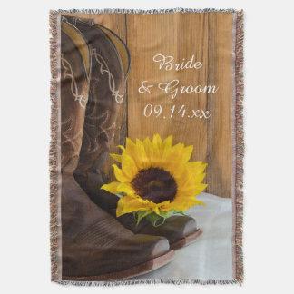 Cobertor Lembrança ocidental do casamento do girassol do