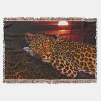 Cobertor Leopardo na cobertura do lance do luar