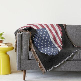 Cobertor Monograma. Bandeira americana dada forma coração