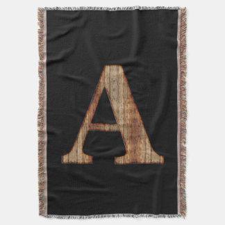 Cobertor Monograma rústico da madeira do preto do vintage