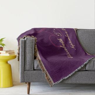 Cobertor Newlywed roxo do casal do aniversário de casamento