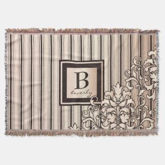 Cobertor O monograma listra bonito feminino feminino do