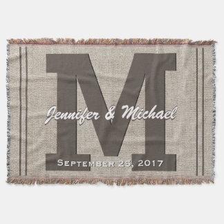 Cobertor Olhar de linho rústico do monograma | do casamento