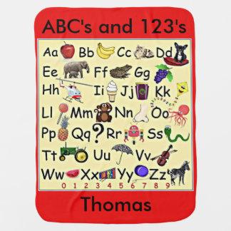 Cobertor Para Bebe ABC 123 números do alfabeto que aprendem a