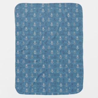 Cobertor Para Bebe Âncoras de linho no azul