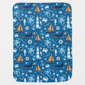 Cobertor Para Bebe Azul profundo todas as coisas náuticas