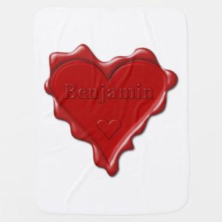 Cobertor Para Bebe Benjamin. Selo vermelho da cera do coração com