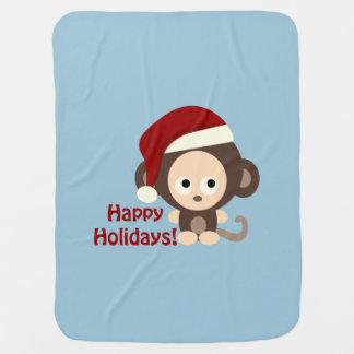 Cobertor Para Bebe Boas festas! Macaco do bebê