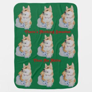 Cobertor Para Bebe cão vermelho bonito da arte do retrato do animal