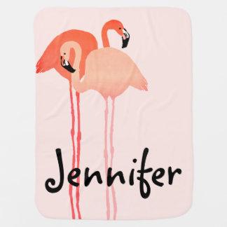 Cobertor Para Bebe Casamento de praia cor-de-rosa dos flamingos