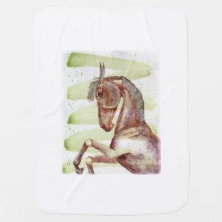 Cobertor Para Bebe Cobertura eqüino do bebê da arte da aguarela