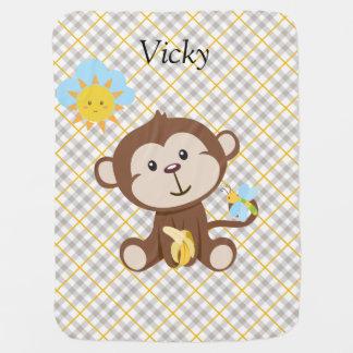 Cobertor Para Bebe Cobertura personalizada do bebê do macaco