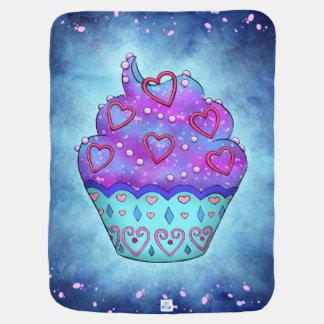 Cobertor Para Bebe Cupcake delicada azuis, rosa com querido rosa/