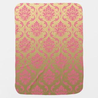 Cobertor Para Bebe Damasco do ouro e do clássico do rosa